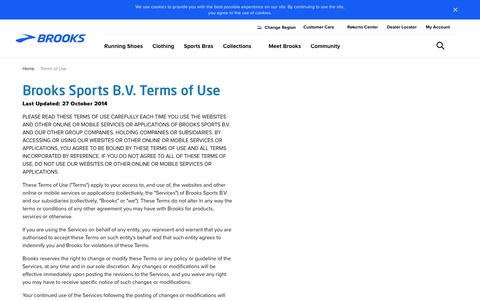 Screenshot of Terms Page brooksrunning.com - Brooks Sports, Inc. Terms of Use - captured March 6, 2018