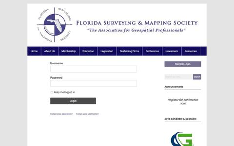 Screenshot of Login Page memberclicks.net - Florida Surveying and Mapping Society - captured July 1, 2018