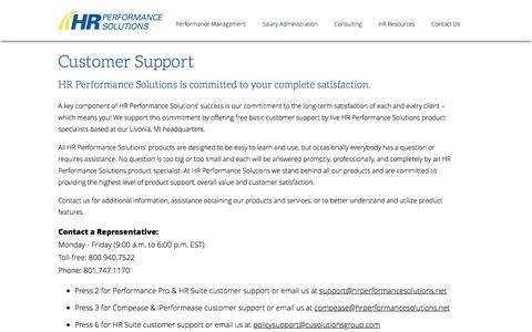 Screenshot of Support Page hrperformancesolutions.net - Contact Customer Support - HR Performance Solutions - captured Jan. 23, 2016