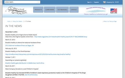 Screenshot of Press Page breathehealthy.com - In The News - Breathe Healthy® - captured Sept. 30, 2014
