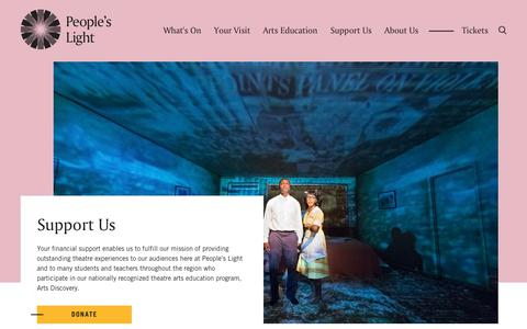 Screenshot of Support Page peopleslight.org - Support People's Light - People's Light - captured Sept. 27, 2018
