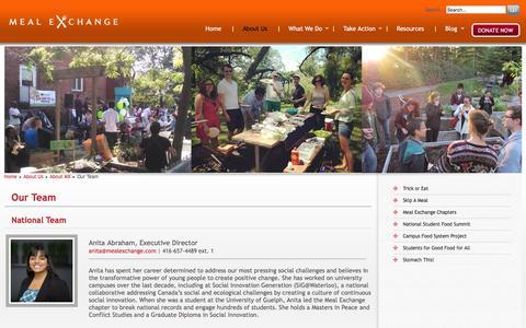 Screenshot of Team Page mealexchange.com - :: Meal Exchange :: - captured Dec. 21, 2015