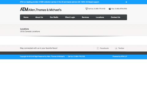 Screenshot of Locations Page atmllp.com - ATM Allen, Thomas & Michael's |   Locations - captured Oct. 4, 2014