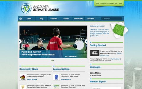 Screenshot of Home Page vul.ca - Vancouver Ultimate League - captured Sept. 23, 2014