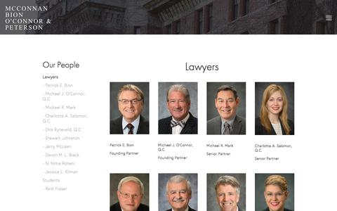 Screenshot of Team Page mcbop.com - Lawyers — McConnan Bion O'Connor & Peterson - captured Jan. 10, 2018