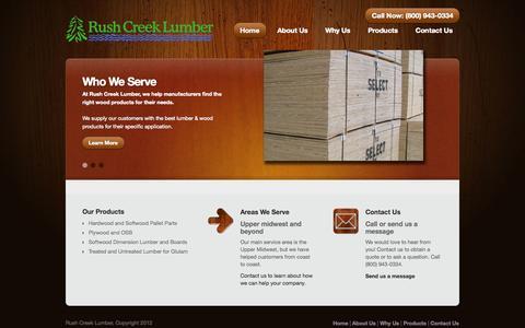Screenshot of Home Page rushcreeklumber.com - Rush Creek Lumber   (507) 451-2721   Owatonna, MN - captured Oct. 7, 2014