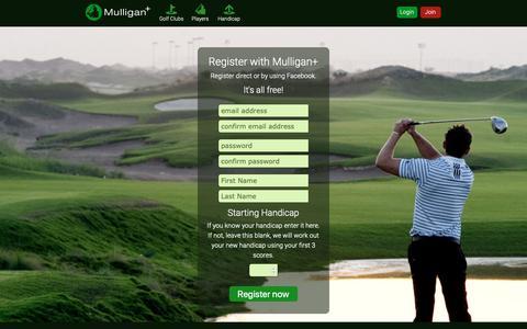 Screenshot of Signup Page mulliganplus.com - Register Today - Mulligan Plus Online Golf - captured Oct. 19, 2018