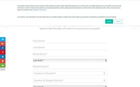 Screenshot of Pricing Page hapara.com - Pricing Request - Hapara - captured May 30, 2019