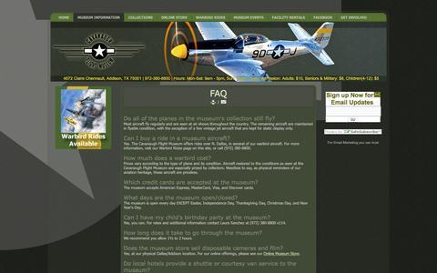 Screenshot of FAQ Page cavanaughflightmuseum.com - Cavanaugh Flight Museum - FAQ - captured Nov. 2, 2016