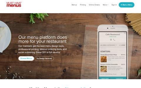 Screenshot of Home Page musthavemenus.com - Menus Made Easy | MustHaveMenus - captured Oct. 1, 2015