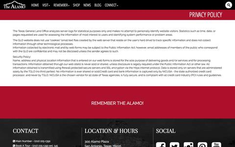 Screenshot of Privacy Page thealamo.org - Privacy Policy - captured Aug. 18, 2016