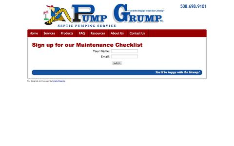Screenshot of Signup Page pumpgrump.com - Great tips on how to keep your septic system healthy! - captured Oct. 3, 2014