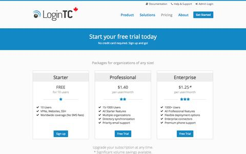 Screenshot of Pricing Page logintc.com - LoginTC - Pricing - captured Oct. 3, 2014