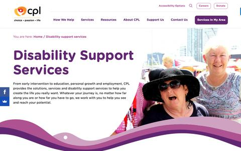 Screenshot of Services Page cpl.org.au - Disability Support Services | CPL - Choice, Passion, Life - captured Dec. 14, 2018