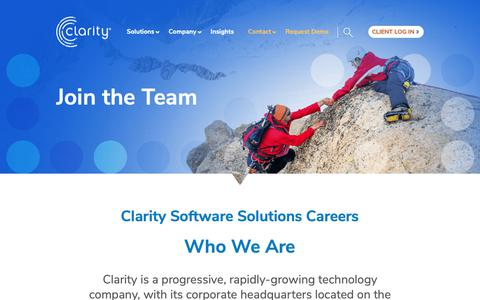 Screenshot of Jobs Page clarityssi.com - Clarity Software Solutions Careers - Clarity Employment - captured Oct. 13, 2018