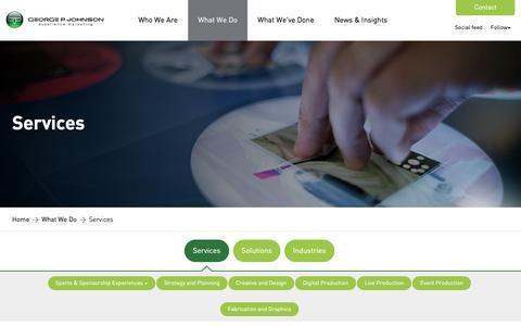 Screenshot of Services Page gpj.com - Services | George P. Johnson - captured April 22, 2016