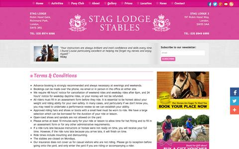 Screenshot of Terms Page ridinginlondon.com - Terms & Conditions - Horse riding London & pony riding London with Stag Lodge Stables - captured Oct. 6, 2014