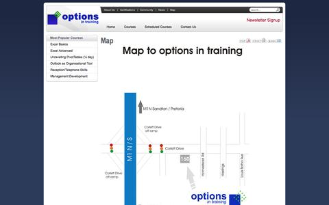 Screenshot of Maps & Directions Page optionsit.co.za - Options in Training | Map to computer and soft skills training centre | Johannesburg, Gauteng, South Africa - captured Oct. 9, 2014