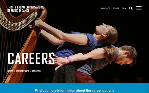 Screenshot of Jobs Page trinitylaban.ac.uk - Careers | Trinity Laban - captured Sept. 22, 2018