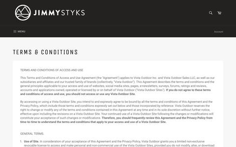 Screenshot of Terms Page jimmystyks.com - Terms & Conditions – Jimmy Styks - captured Sept. 22, 2018