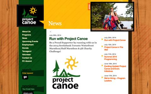 Screenshot of Press Page canoe.org - Project Canoe » News - captured Oct. 3, 2014