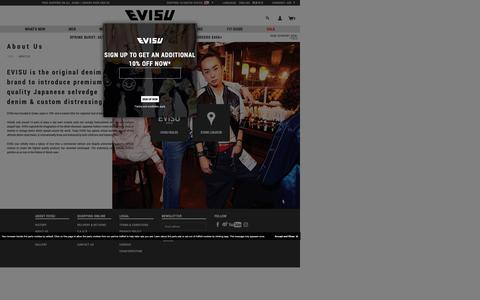 Screenshot of About Page evisu.com - About Us - captured May 13, 2017