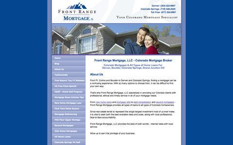 Screenshot of About Page frontrangemortgage.com - Colorado Mortgage Broker - Front Range Mortgage - Denver & Colorado Springs - captured Oct. 6, 2014