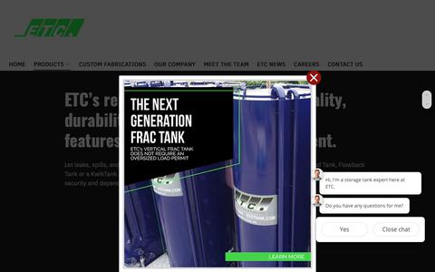 Screenshot of Products Page etctank.com - PRODUCTS - Environmental Tank and Container - captured Nov. 10, 2018