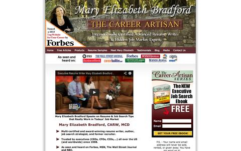 Screenshot of Home Page maryelizabethbradford.com - Executive Resume Writer | Mary Elizabeth Bradford - captured Oct. 1, 2014