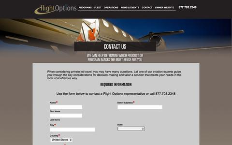 Screenshot of Contact Page flightoptions.com - Contact Flight Options - captured Sept. 23, 2014