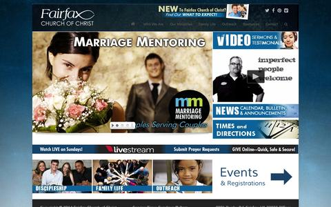 Screenshot of Home Page fxcc.org - Fairfax Church of Christ - captured Oct. 5, 2014