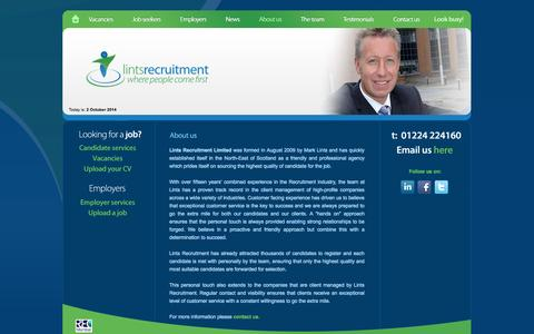 Screenshot of About Page lintsrecruitment.com - About Us - Lints Recruitment Ltd - Aberdeen Recruitment Agency - captured Oct. 2, 2014