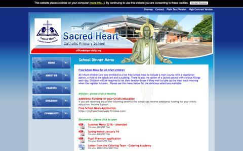 Screenshot of Menu Page sacredheart.hillingdon.sch.uk - School Dinner Menu :: Sacred Heart Catholic Primary School, Ruislip, United Kingdom - captured May 22, 2016
