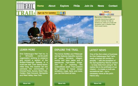 Screenshot of Home Page ecattrail.org - Erie Cattaraugus Rail Trail - captured Sept. 29, 2018
