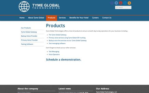 Screenshot of Products Page tymeglobal.com - Tyme Global Technologies - Voice Services - captured Oct. 19, 2018