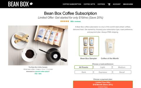 Screenshot of Signup Page beanbox.co - Bean Box® Coffee Subscription | Start with a free trial - captured Nov. 27, 2018