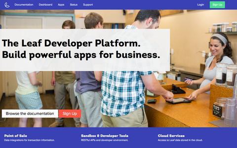 Screenshot of Developers Page leaf.me - Leaf Developer Portal - captured Oct. 28, 2014