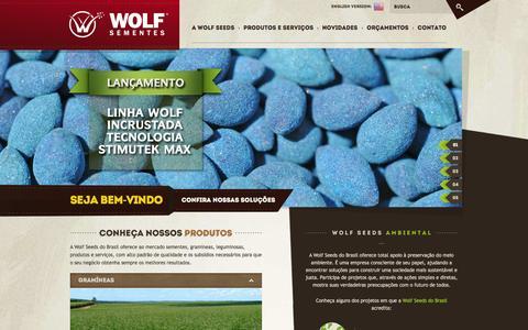 Screenshot of Home Page wolfseeds.com - Wolf Seeds - Sementes Forrageiras - captured Oct. 9, 2014