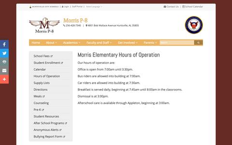 Screenshot of Hours Page huntsvillecityschools.org - Morris Elementary Hours of Operation | Morris P-8 | Huntsville City Schools - captured Oct. 21, 2018