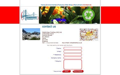 Screenshot of Contact Page hbtltd.co.uk - Highbridge Trading UK Ltd. - captured Aug. 13, 2017