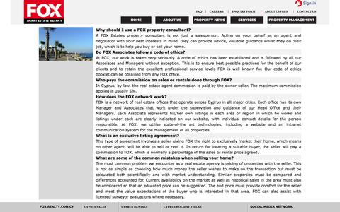 Screenshot of FAQ Page foxrealty.com.cy - Fox Smart Estate Agency - captured Nov. 24, 2016