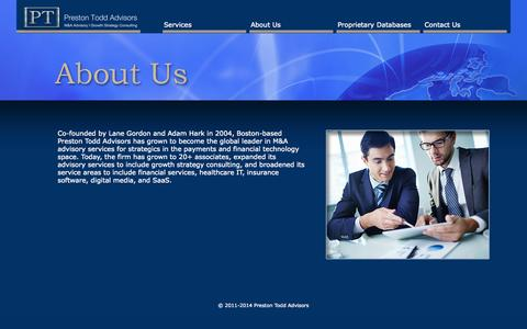 Screenshot of About Page prestontoddadvisors.com - About Us | Preston Todd Advisors | Business Growth Consultants - captured Sept. 30, 2014