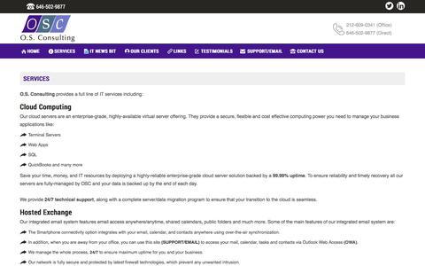 Screenshot of Services Page osconsulting.com - O.S. Consulting - SERVICES - captured Nov. 2, 2017