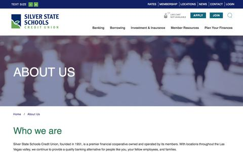 Screenshot of About Page silverstatecu.com - Silver State Schools Credit Union : About Us | Silver State Schools Credit Union - captured Feb. 1, 2018
