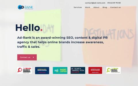 Screenshot of Home Page ad-rank.com - SEO, Content Marketing & Digital PR Agency in Hertfordshire | Ad-Rank - captured Nov. 17, 2018