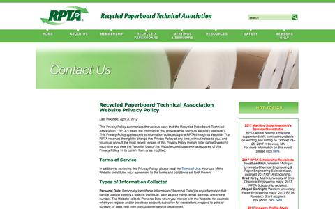 Screenshot of Privacy Page rpta.org - Recycled Paperboard Technical Association (RPTA): Contact Us - Privacy Policy - captured Oct. 24, 2017