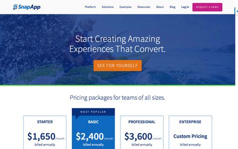 Screenshot of Pricing Page snapapp.com - Pricing | SnapApp - captured Jan. 11, 2017