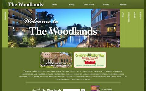 Screenshot of Home Page thewoodlands.com - The Woodlands - Texas' premier master-planned community north of Houston. - captured Jan. 19, 2016