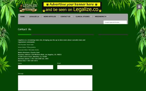 Screenshot of Contact Page legalize.co - Contact Us | Legalize.co - captured Oct. 2, 2014