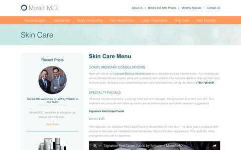 Screenshot of Menu Page moradimd.com - Skin Care & Spa Treatments at Moradi MD - captured Dec. 22, 2016